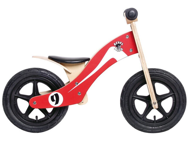 """Rebel Kidz Wood Air - Draisienne Enfant - 12"""" Retro Racer rouge"""